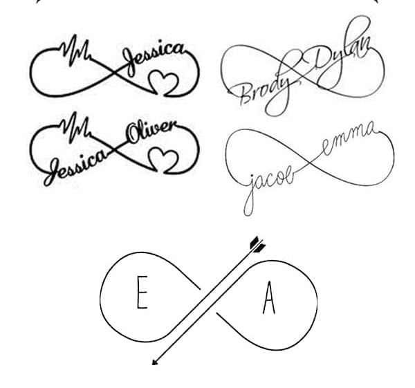 infinity tattoos with names